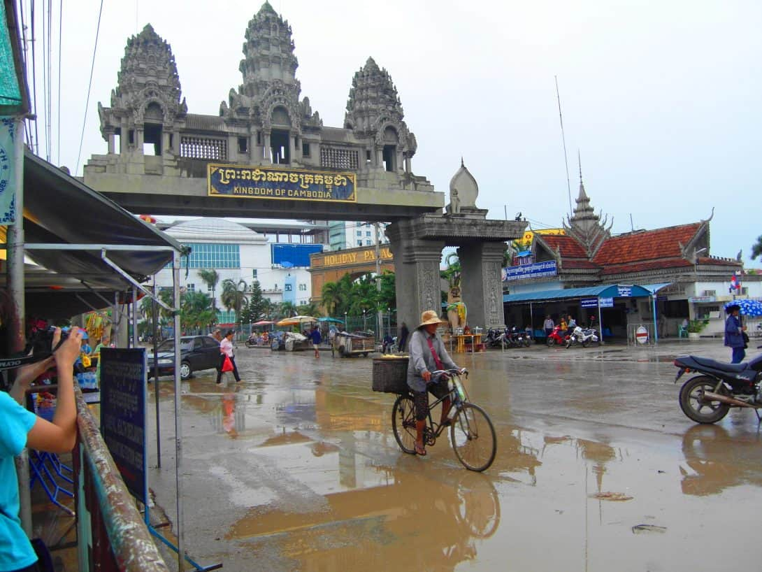 Crossing the Cambodian border from Thailand.
