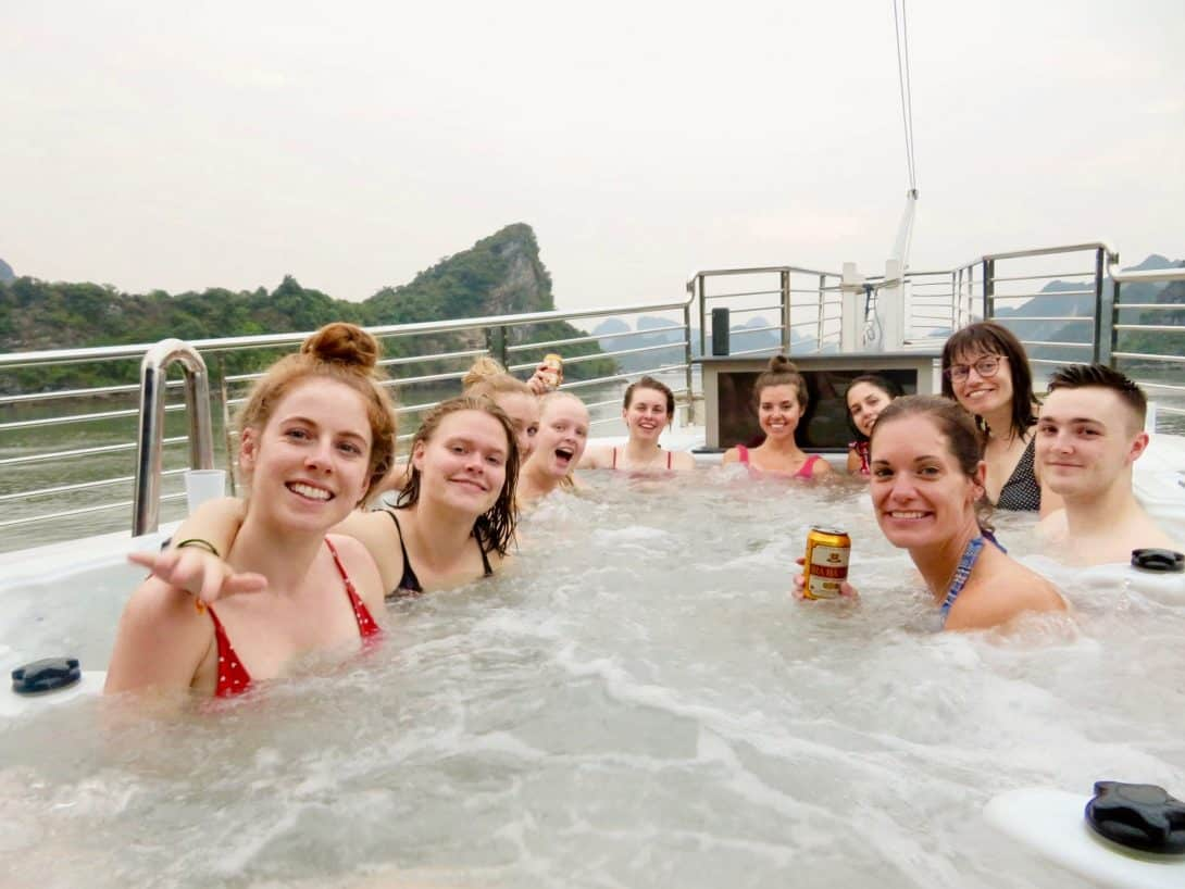 Relaxing in a jacuzzi during the Oasis Party Cruise tour of Halong Bay.