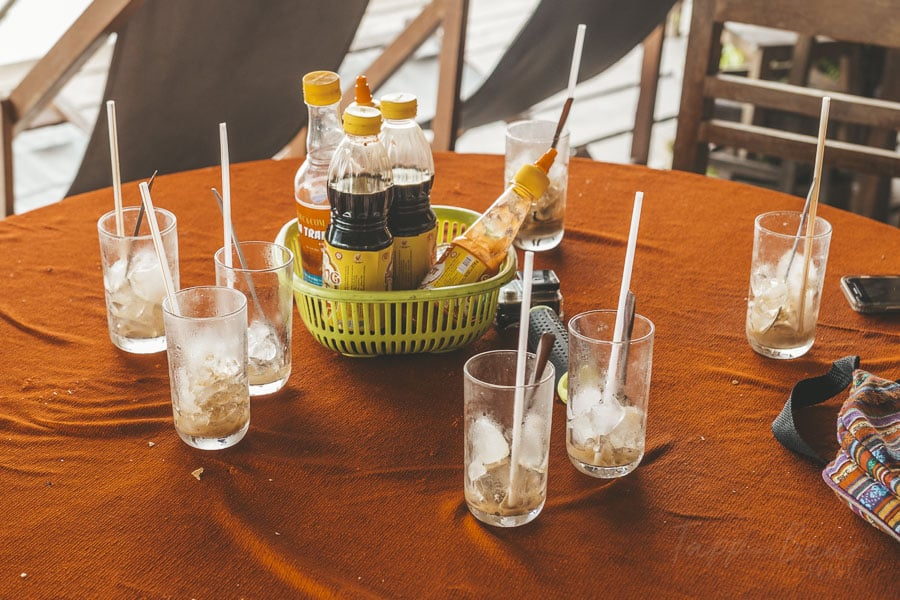 Empty Glasses Which Had Contained Vietnamese Iced Coffee