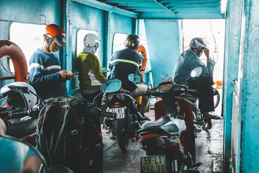 Motorbikes Lined Up On A Ferry