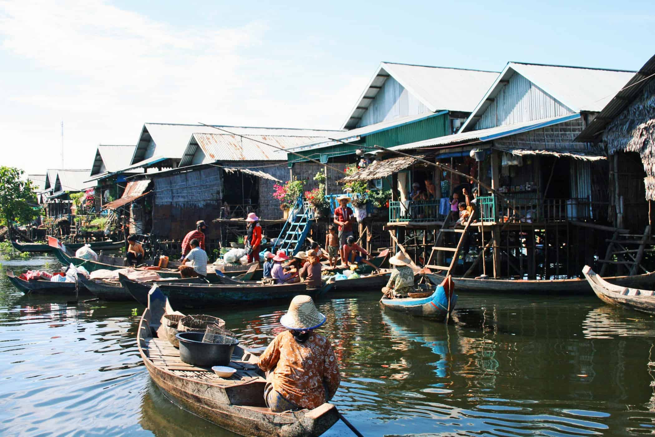 Siem Reap Floating Villages - markets and houses on the Tonle Sap Lake.