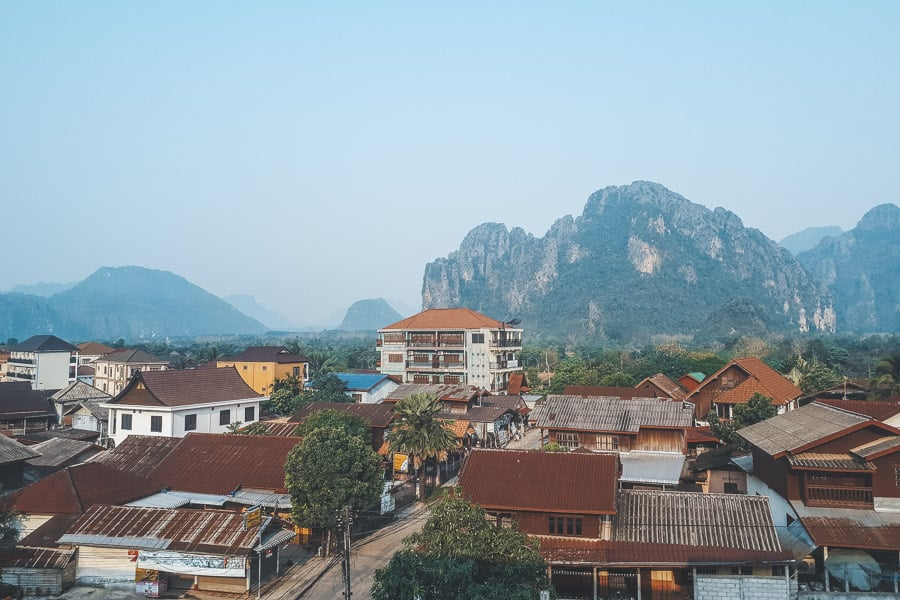 Vang Vieng - Daytime Town and Mountain View from Faraway Suites.