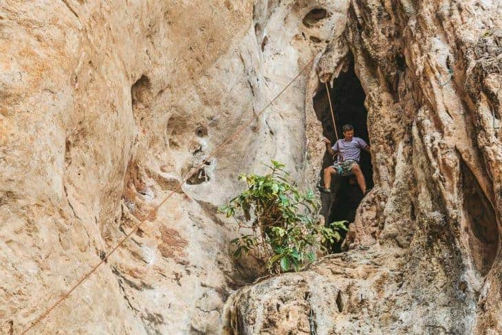Climber in the Cave on Phra Nang Wall