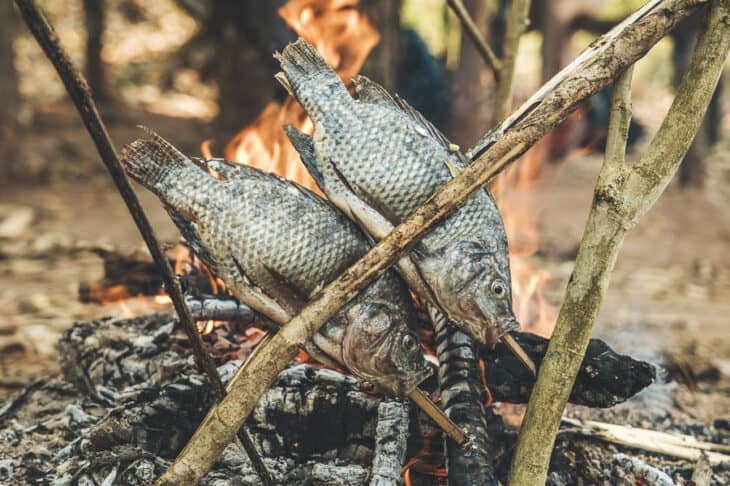 Traditional fish cooking