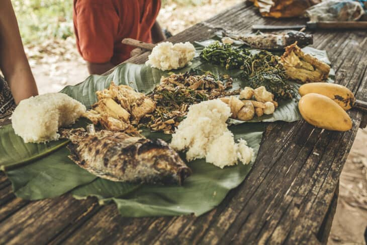 Lunch Spread Out on Banana Leaves