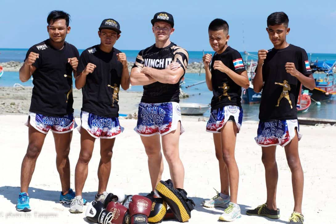 The Punch It Gym Team on the beach in Koh Samui, Thailand
