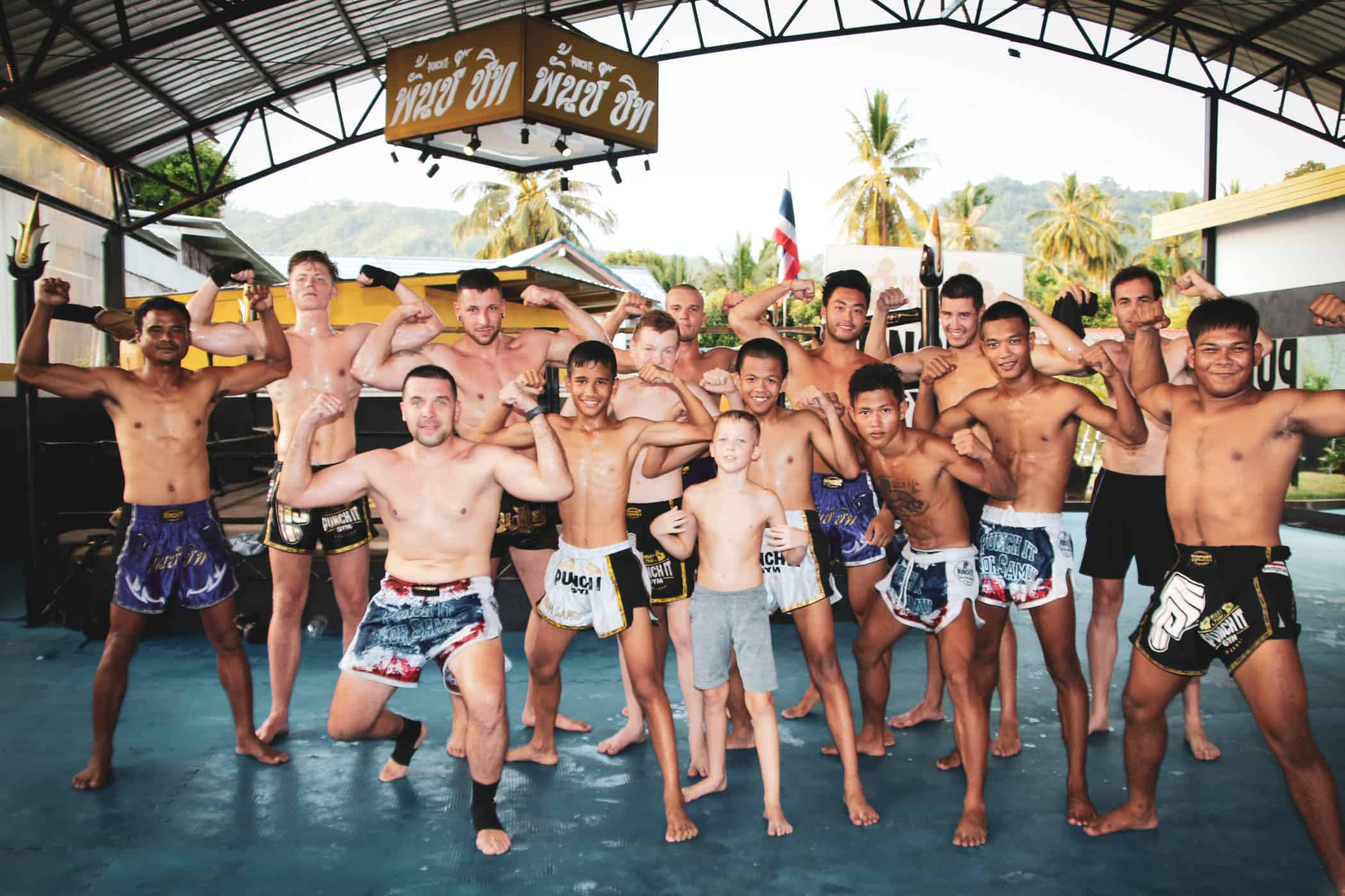 Trainers and students at Punch It Gym, Samui.