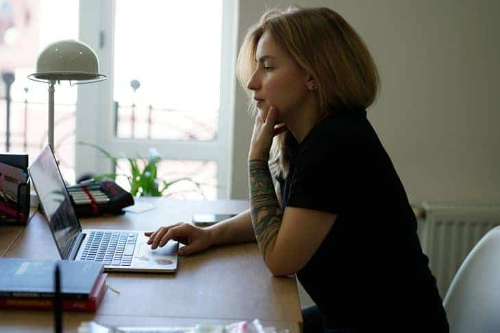 Girl at desk with computer