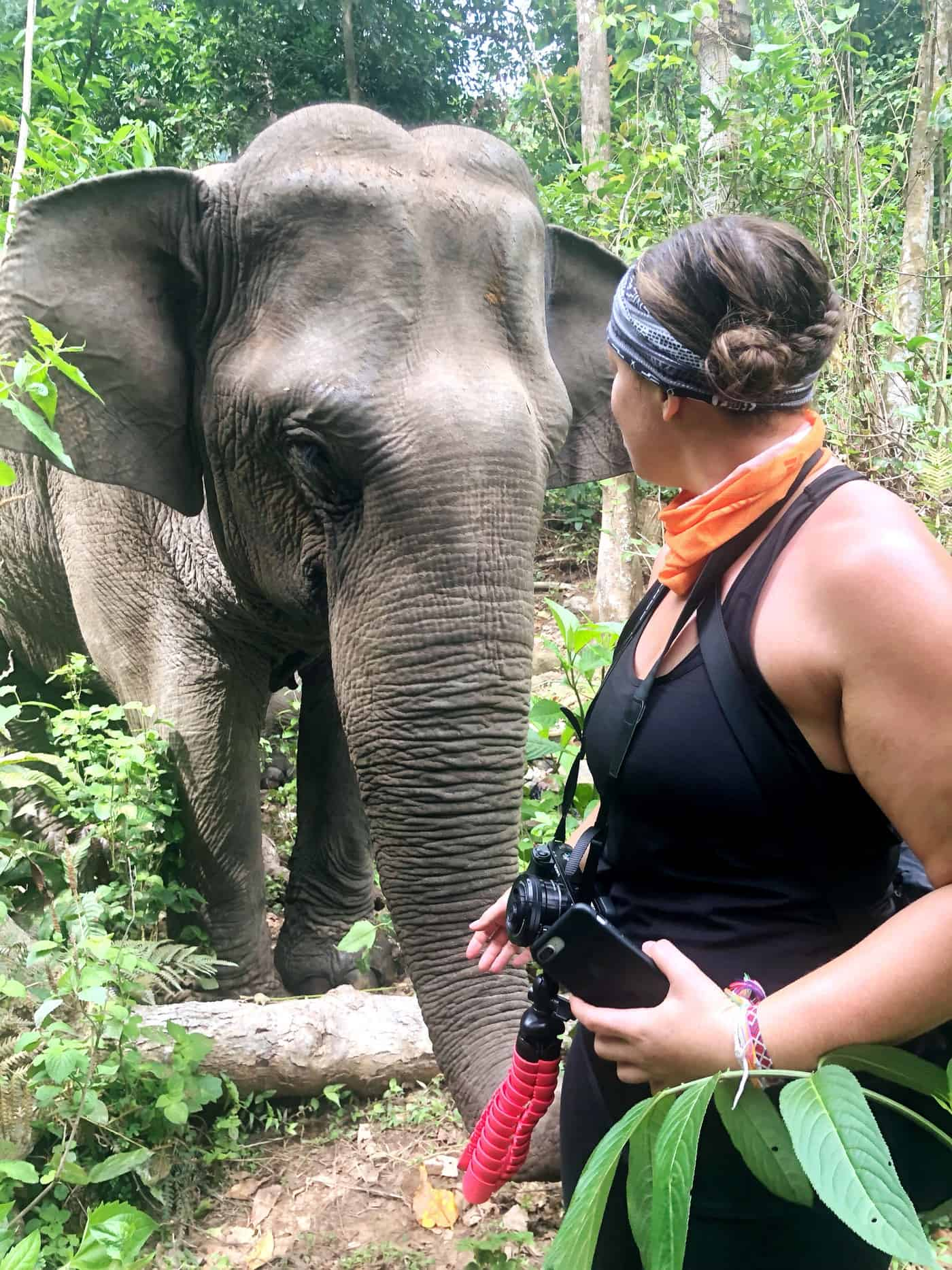 Ava Lalancette With an Elephant at Never Forget