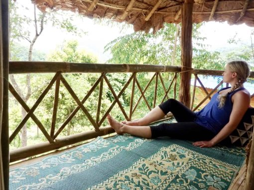 A Girl Lounges at Never Forget Elephant Foundation