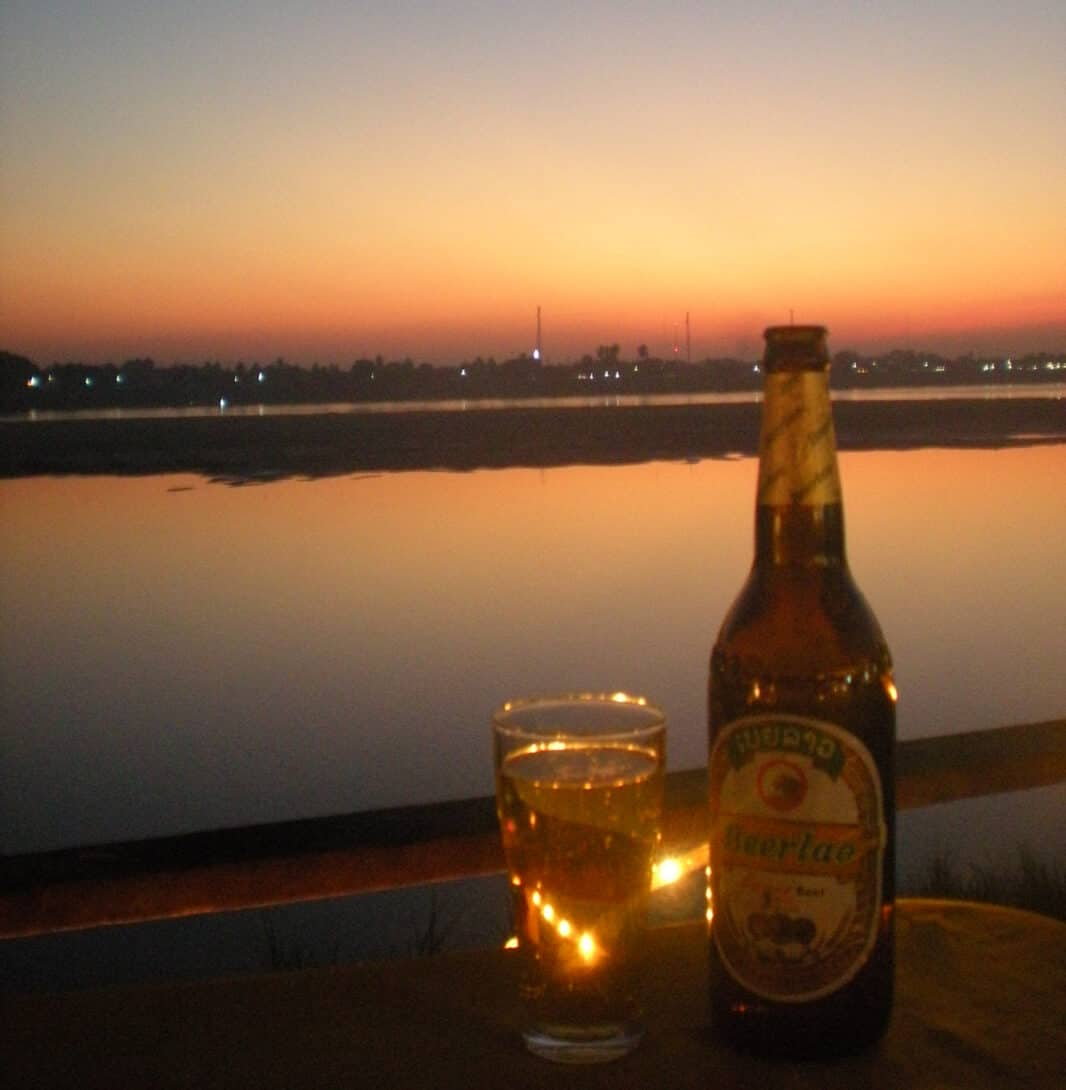 A BeerLao in the sunset