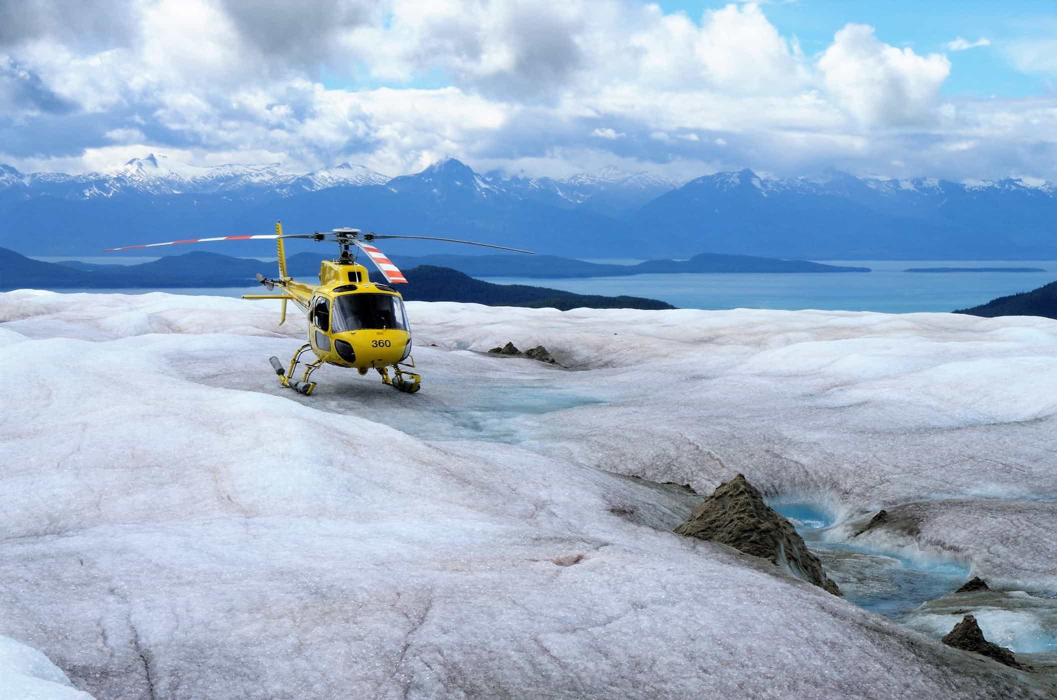 Helicopter in the mountains.