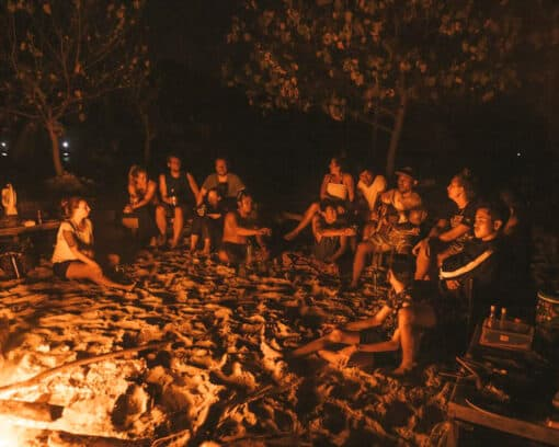 Happy campers playing music around fire on beach