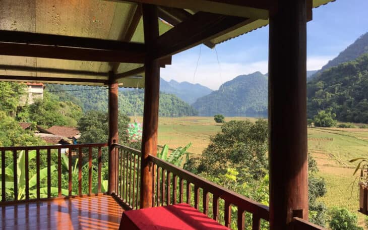 View from wooden structure of Vietnamese countryside.