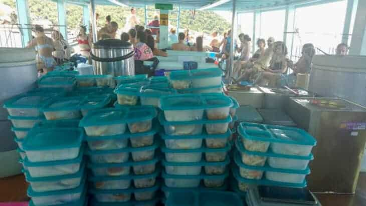Pre packaged meals on snorkel tour.