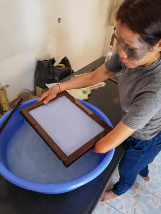 Woman makes recycled paper.