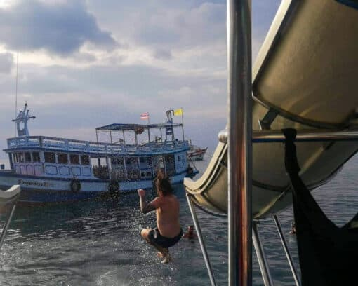 The slide coming off the boat!