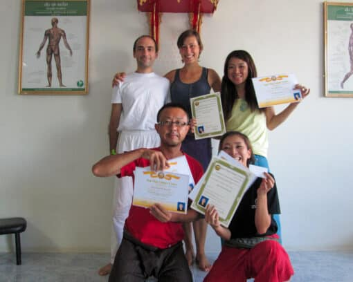 Group of students with certificates