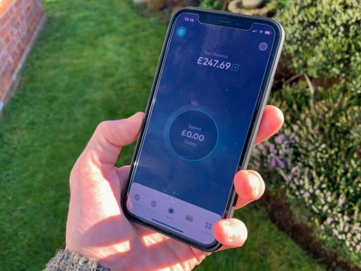 Phone with Starling bank app open.