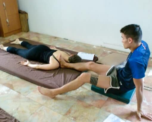 Feet being used in Thai massage
