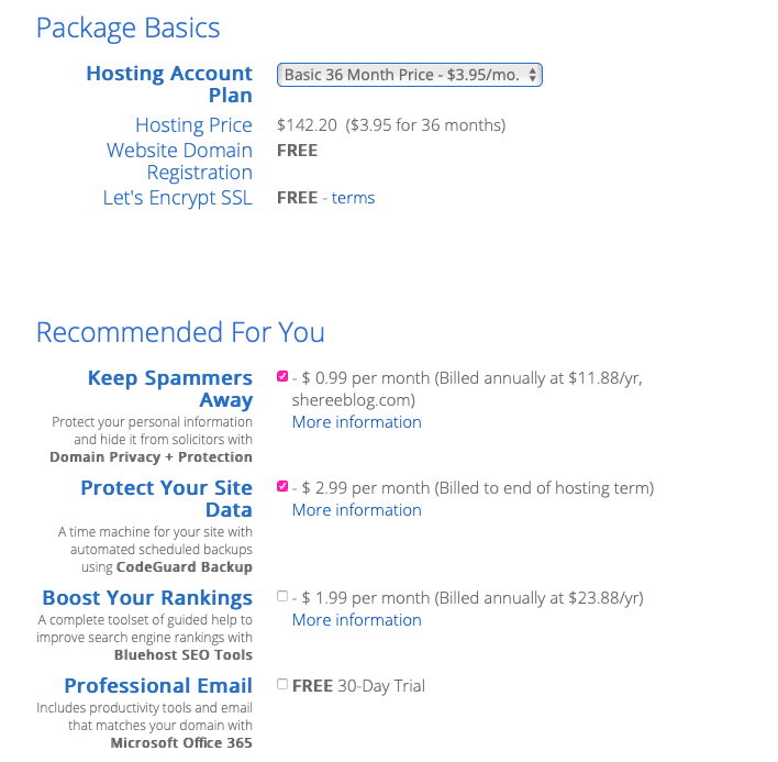 Bluehost package add-ons
