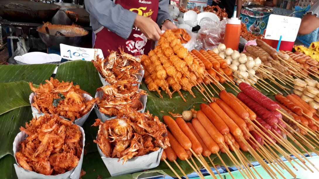 Deep fried seafood and other Thai street food snacks.