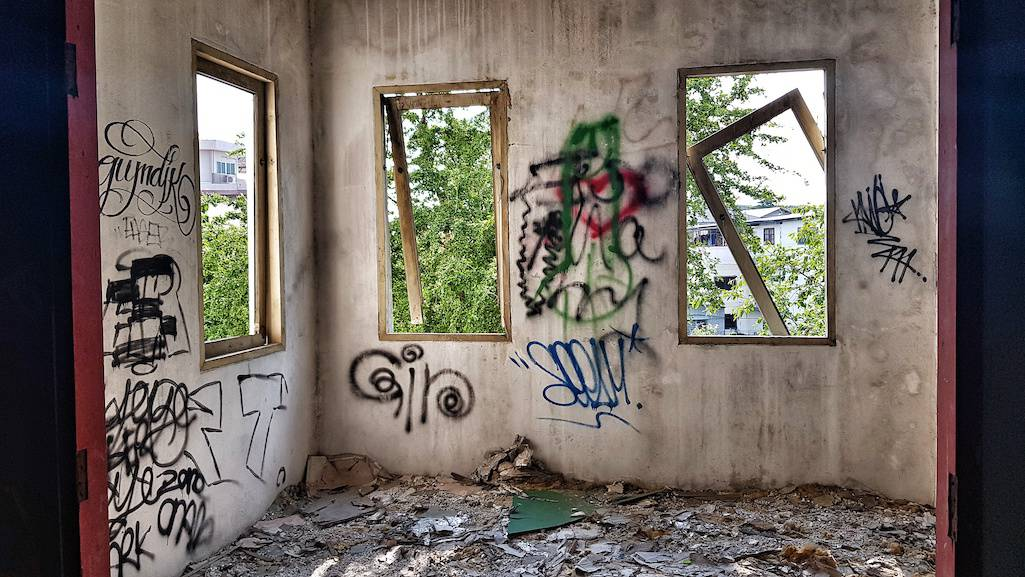 A small, derelict room on the upper floor.