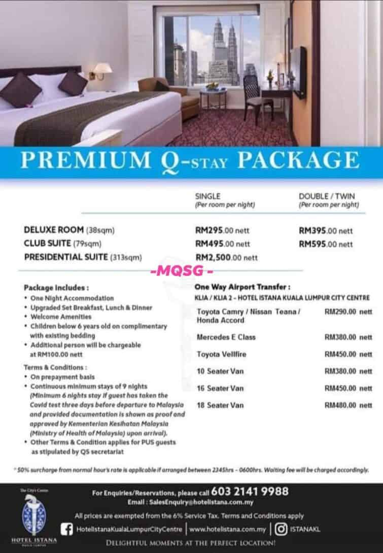 The quarantine package at Hotel Istana.