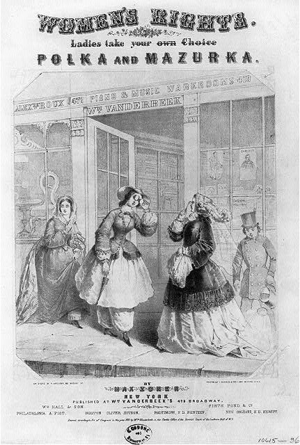 Poster of women in dresses wearing bloomers. Women's Rights.