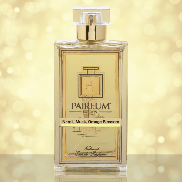 Eau De Parfum Bottle Neroli Musk Orange Blossom Gold Sparkle