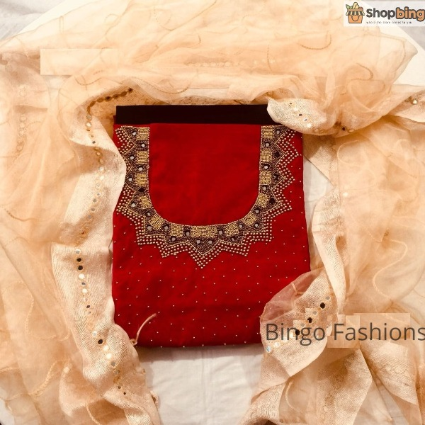 CODE : SBG 14 :: Ethnic wear with Pearl and Mirror Work (RED 1)!!!