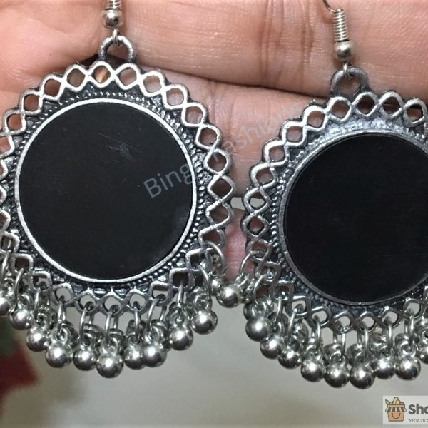 CODE : SBG 25 (5):: Trendy Antique Oxidized Silver Color Ethnic Drop Dangle !!!