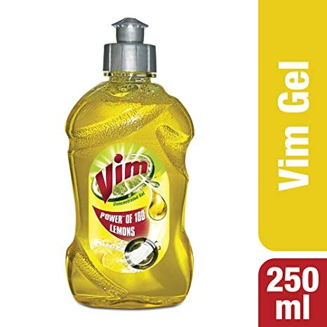 Vim Concentrated Dishwash Yellow Gel, 250 ml