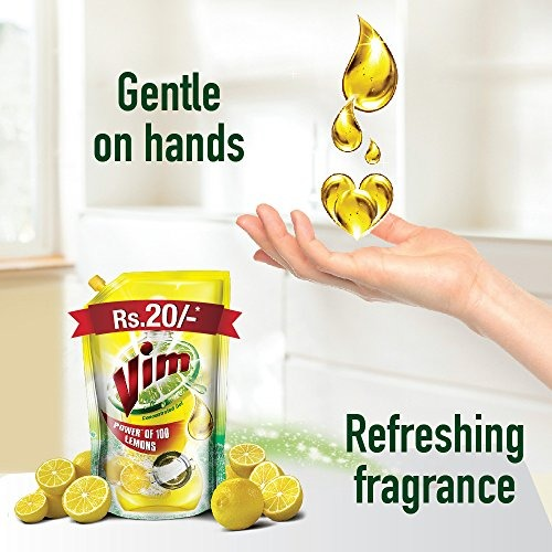 Vim  Lemon Dishwash Liquid, 155 ml