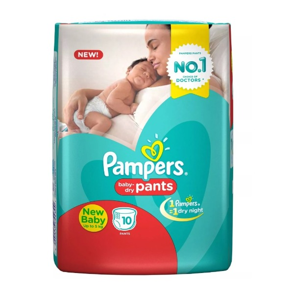 Pampers Baby-Dry Pants New Baby up to 5 Kg ( 10 Pants ) , 1 Packet