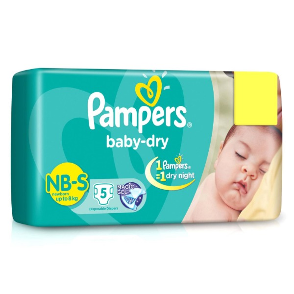 Pampers Baby-Dry NB-S new born ( up to 8 kg ) 5 Diapers , 1 Packet