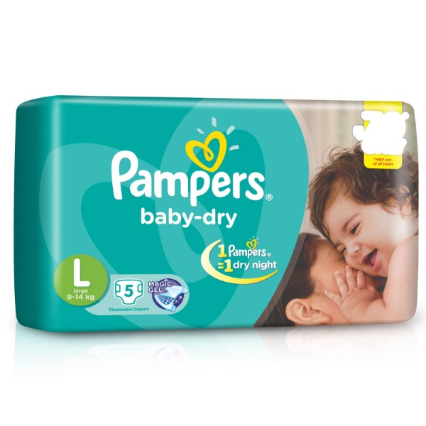 Pampers Baby-Dry Large ( 9 - 14 kg ) 5 Diapers , 1 Packet