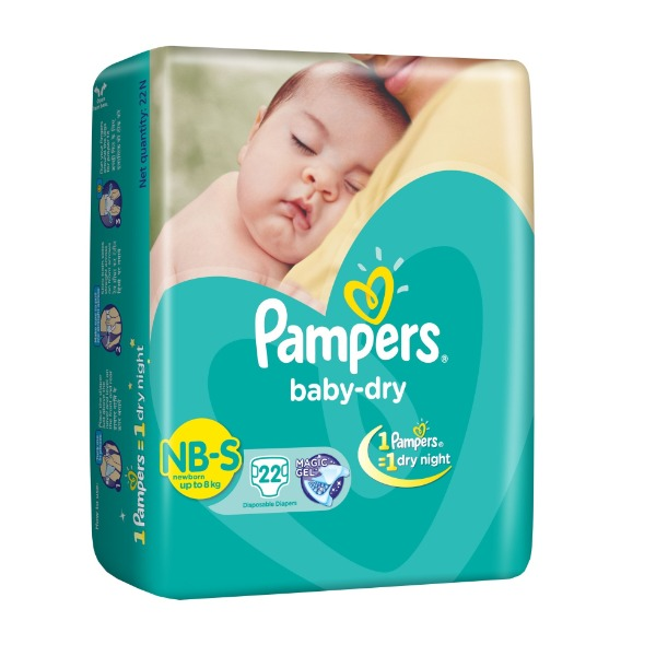 Pampers Baby-Dry NB-S new born ( up to 8 kg ) 22 Diapers , 1 Packet