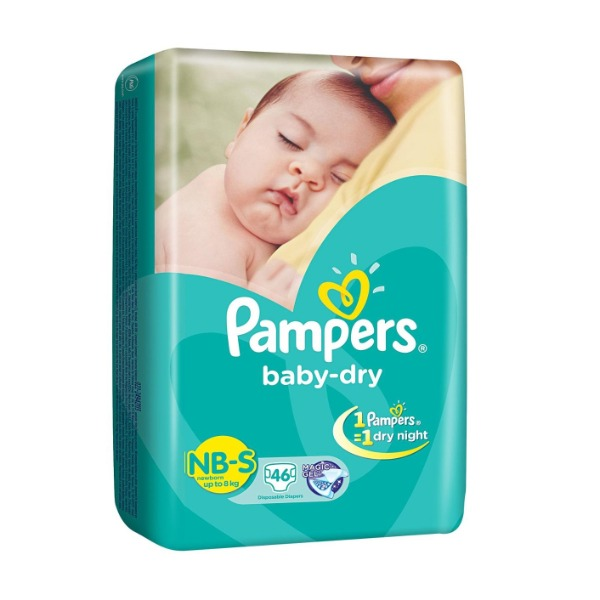 Pampers Baby-Dry NB-S new born ( up to 8 kg ) 46 Diapers , 1 Packet
