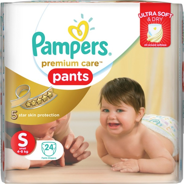 Pampers premium care pants Small ( 4 - 8 Kg ) 24 Pants , 1 Packet