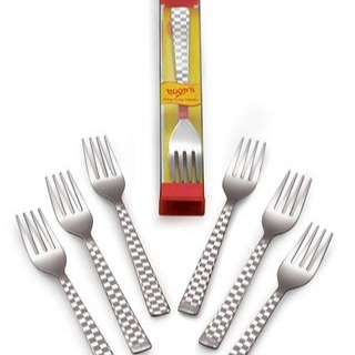 Roop's Stainless Steel Checkers Dissert Fork, 6 Pcs Set