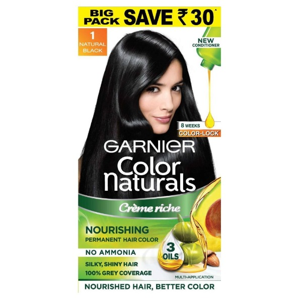 Garnier Color Naturals Creme Riche Nourishing Permanent Hair Color (1 Natural Black) , 70 ml