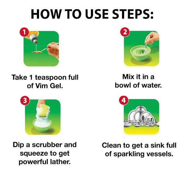 Vim Concentrated Dishwash Yellow Gel, 500 ml