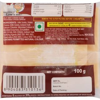 Milky Mist Plain Processed cheese Slices  (100 g)
