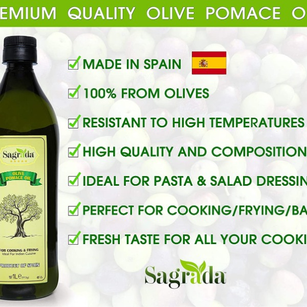Premium Spanish Olive Pomace Oil 1 Litre | Finest Quality Cooking and Frying Oil | 100% from Olives