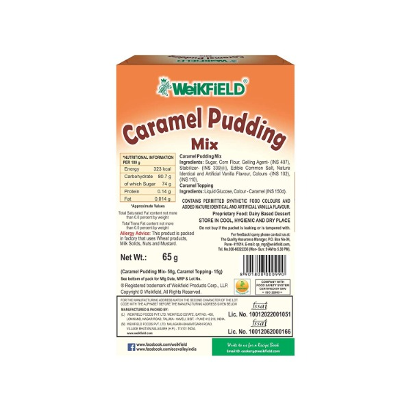 Weikfield Caramel Pudding Mix with topping inside , 65 gm