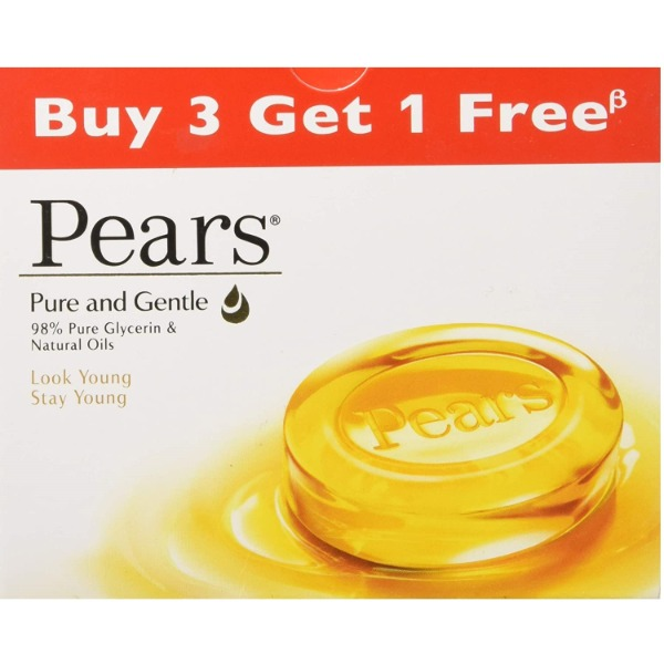 Pears Pure and Gentle Soap Bar, 75 gm (Buy 3 Get 1 Free)