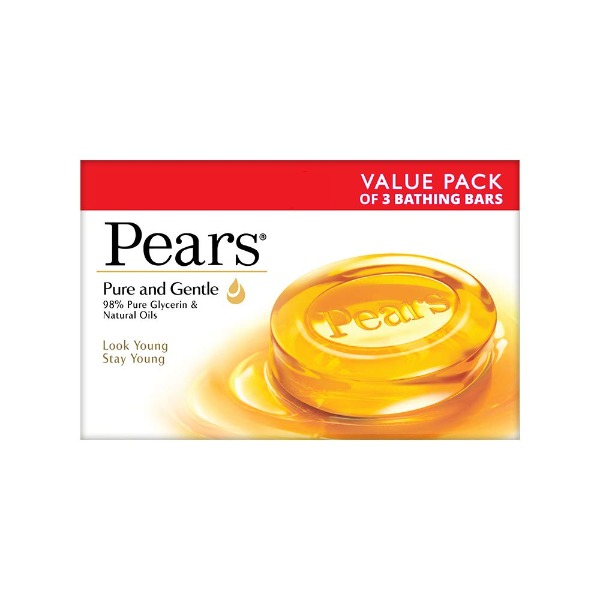 Pears Pure and Gentle Soap Bar, 125 gm  (Pack of 3)