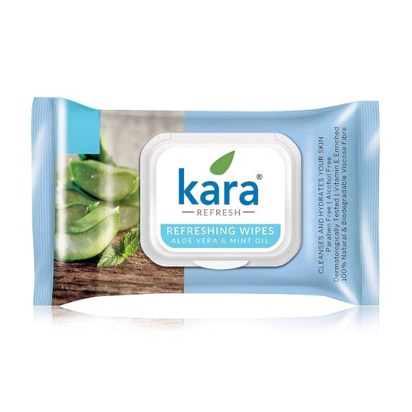 Kara Face Wipe - Cleansing & Hydrating, Refreshing, Mint Oil & Aloe Vera, 10 Wipes