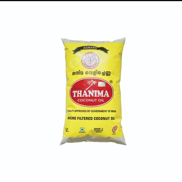 Thanima coconut oil , 1 L Packet + Free  (4 Surgical Disposable Face Mask)